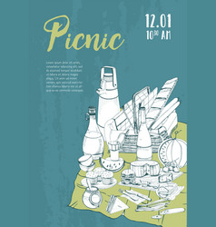 hand drawn picnic poster placard with place for vector image