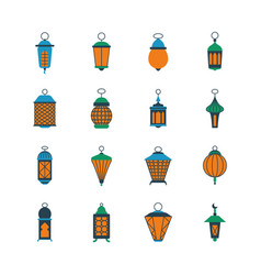 old ramadan islamic lanterns arabic lamps vector image