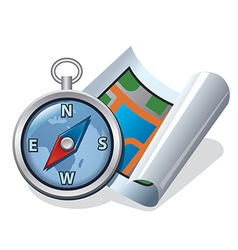 Compass and map icon vector