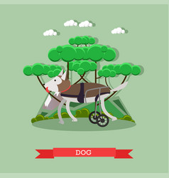 Dog mobility aid in flat style vector
