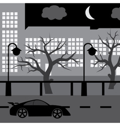 Night street with car tree and buildings eps10 vector