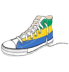 Hand draw modern sport shoes with gabon flag vector
