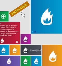 Fire flame icon sign metro style buttons modern vector