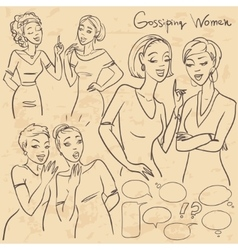 Hand drawn gossiping girls vector