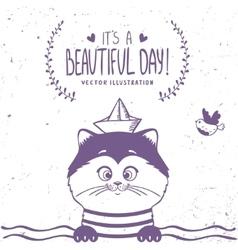 cat sailor vector image