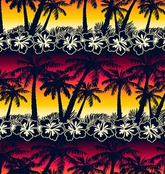 Tropical palm tree at sunset with hibiscus flowers vector