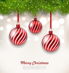 Christmas background with glass hanging balls vector