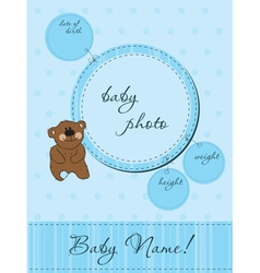 Blue baby announcement card vector