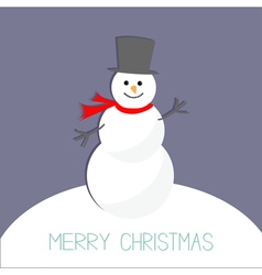 Cartoon snowman on snowdrift violet background vector