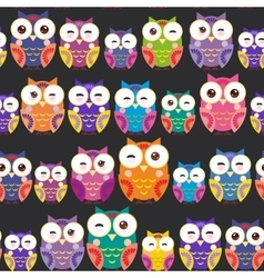 Seamless pattern - bright colorful owls on black vector
