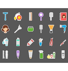 Barbershop stickers set vector image