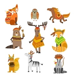 Animals Wearing Tribal Clothing Collection vector image