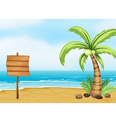 A coconut tree and an empty board at the beach vector image vector image