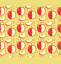 apples seamless pattern red apple endless vector image
