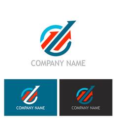 arrow progress up logo vector image vector image