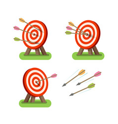 Arrows and round target standing on tripod vector