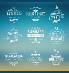 Beach labels set on blue vector