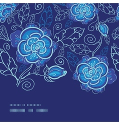 blue night flowers horizontal frame seamless vector image