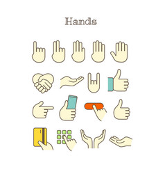 Different thin line color icons set hands vector