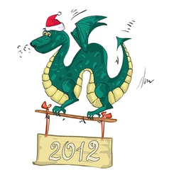 dragon santa hat vector image