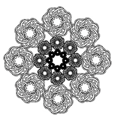 Elaborate circular black and white ornament vector image