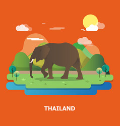 Elephant with nature in thailand graphic design vector