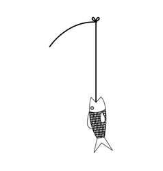 Fishing rod and fish hobby sport activity vector