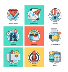 Flat Color Line Design Concepts Icons 35 vector image