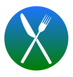 Fork and knife sign white icon in bluish vector