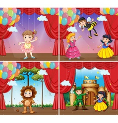 Four scenes of children doing stage plays vector image