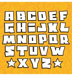 Graffiti fonts alphabet with shadow on orange vector