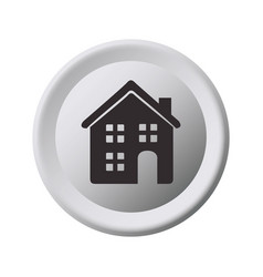 Grayscale circular frame with home vector