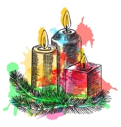 Hand drawn sketch burning candle in christmas vector