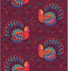 Happy thanksgiving seamless pattern with turkey vector