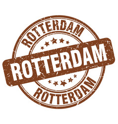Rotterdam brown grunge round vintage rubber stamp vector