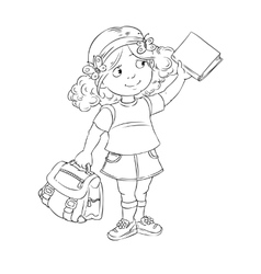 Schoolgirl with book and bag vector image vector image
