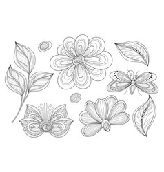 set of beautiful monochrome floral design vector image vector image