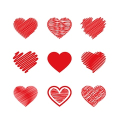 Set of valentines hearts vector image vector image