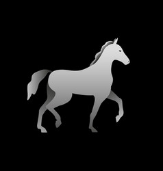 Silhouette of a gray horse standing horse side vector