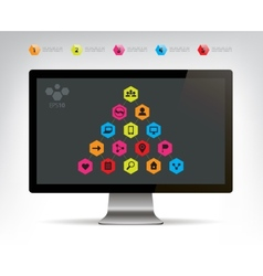 Social connection infographic pyramid vector