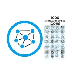 Social graph rounded icon with 1000 bonus icons vector