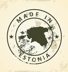 Stamp with map of Estonia vector image vector image