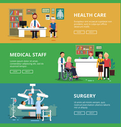 three horizontal banners of healthcare vector image vector image