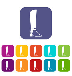 women high boots icons set vector image