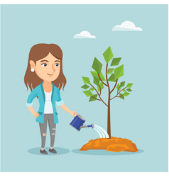 Young caucasian woman watering a tree vector