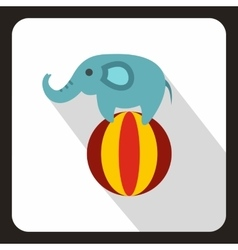 Elephant balancing on a ball icon flat style vector
