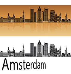 Amsterdam v2 skyline in orange vector