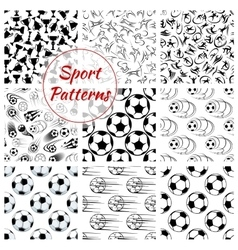 Sport balls sports seamless patterns set vector