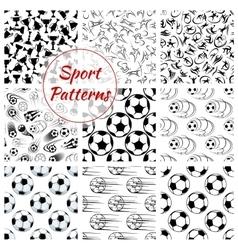 Sport balls sports seamless patterns set vector image