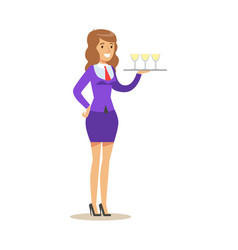 Cheerful waitress holding a tray with champagne vector